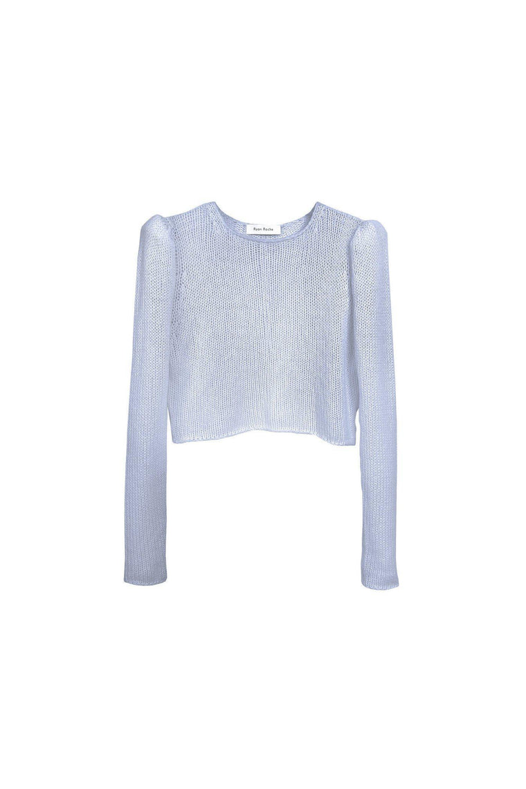 Cashmere air puff sleeve crop sweater