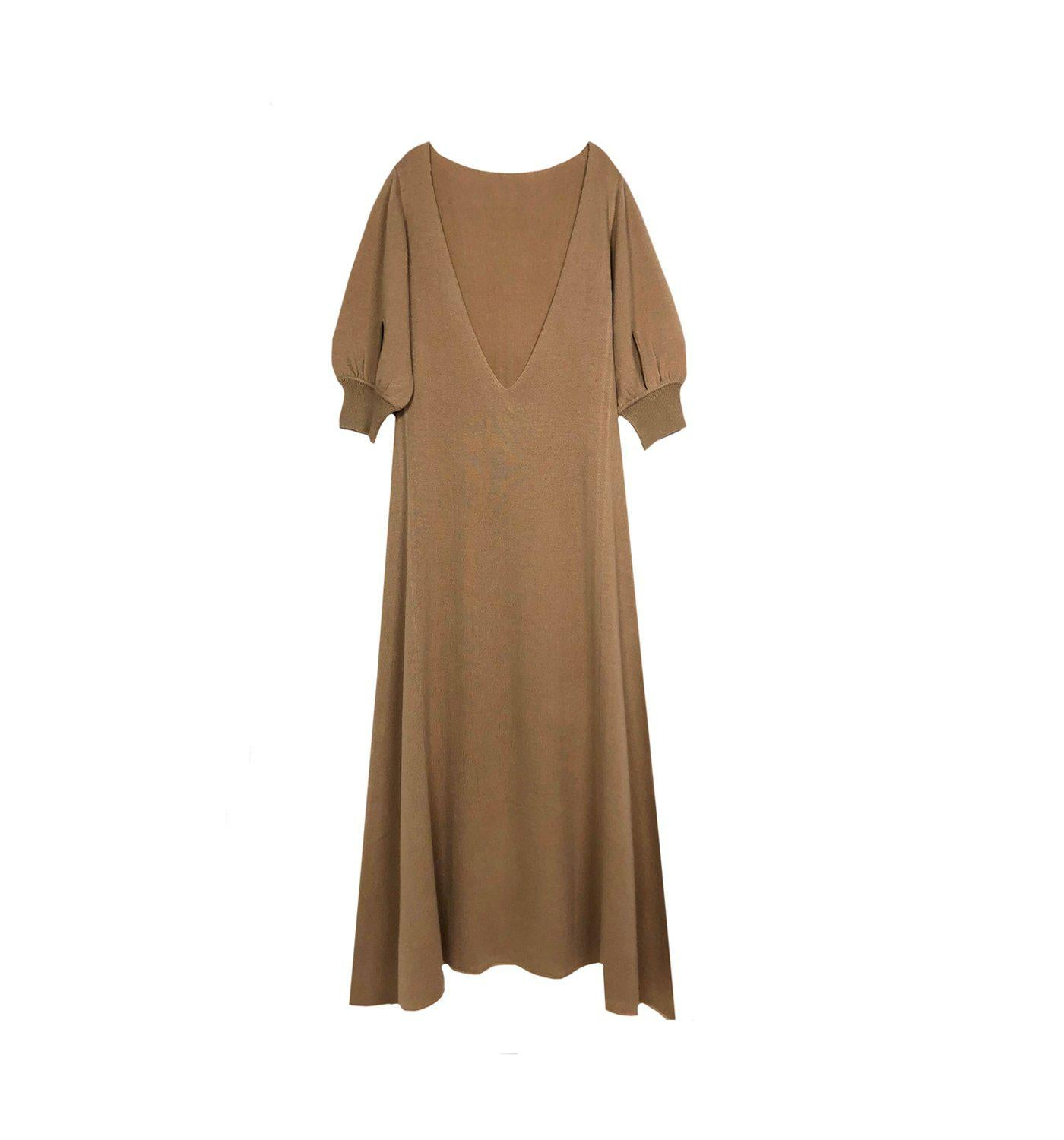 RYAN ROCHE CASHMERE BACK V LONG 3/4 SLEEVE DRESS