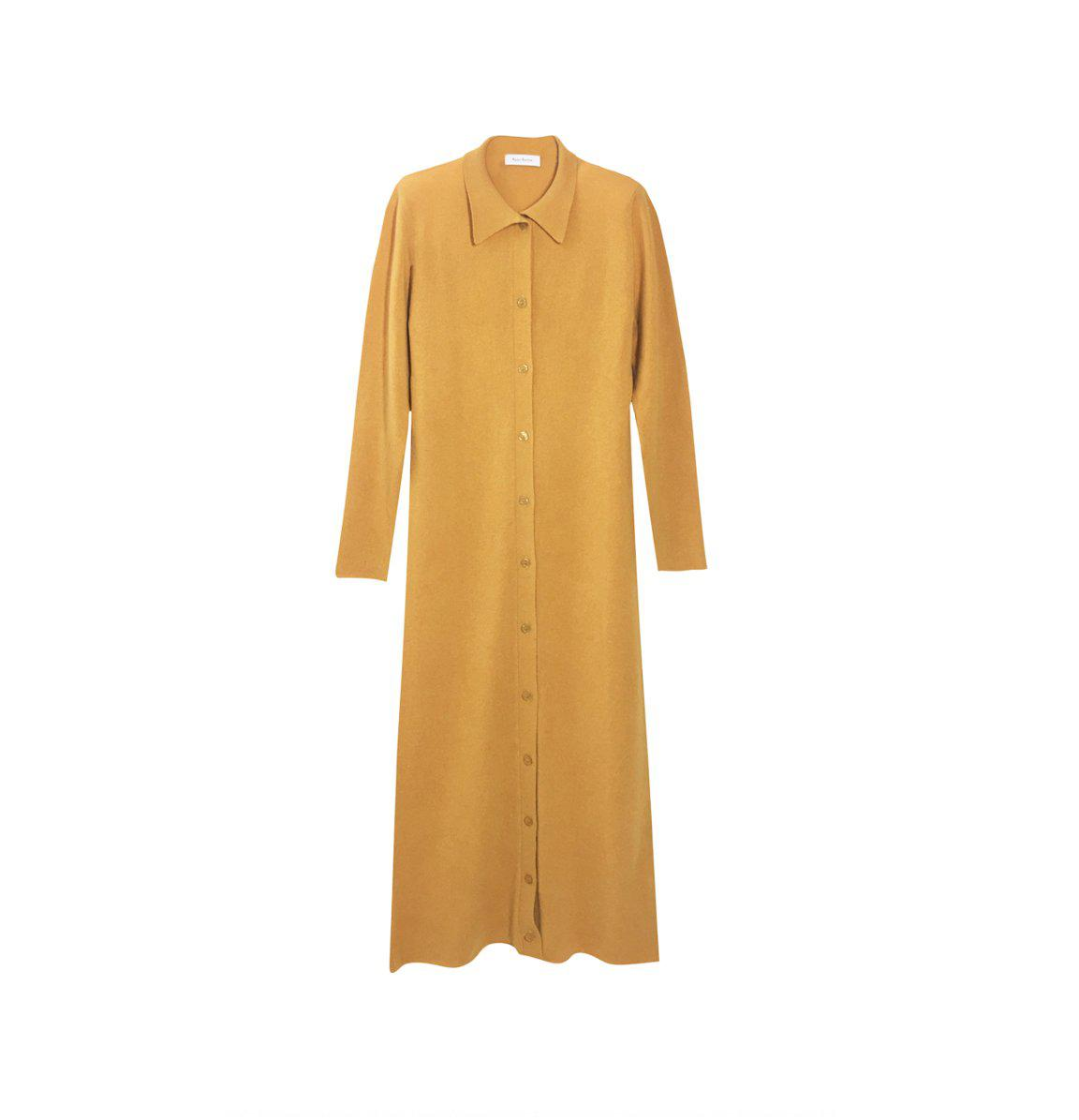 RYAN ROCHE CASHMERE COLLARED FRONT PLACKET SHIRT DRESS