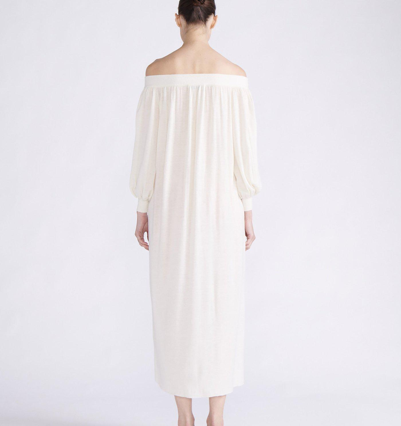 RYAN ROCHE CASHMERE KNIT OFF-THE-SHOULDER MAXI DRESS