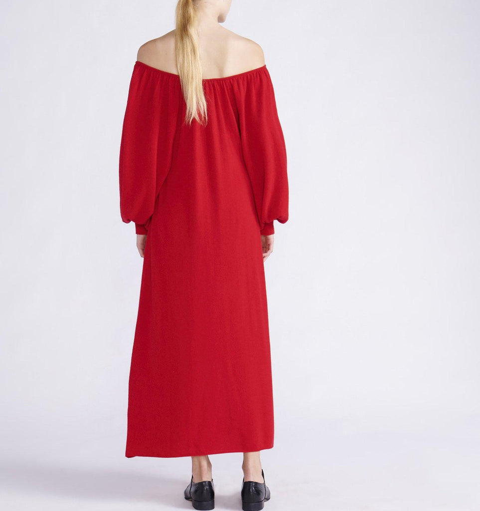 RYAN ROCHE CASHMERE KNIT OFF-THE-SHOULDER MAXI DRESS WITH BALLOON SLEEVES