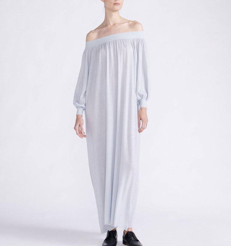 CASHMERE KNIT OFF-THE-SHOULDER MAXI DRESS