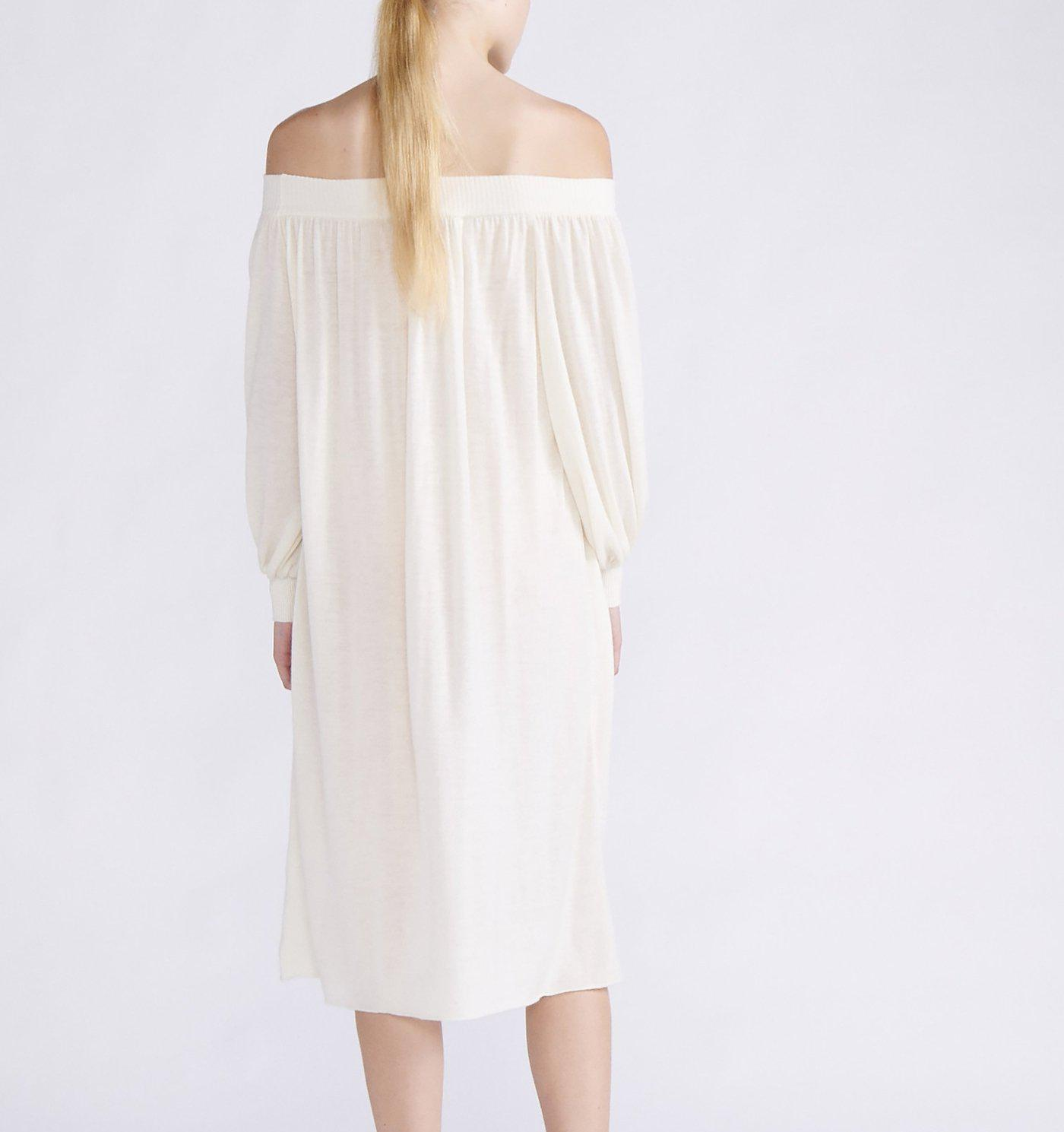 RYAN ROCHE CASHMERE KNIT OFF-THE-SHOULDER MIDI DRESS