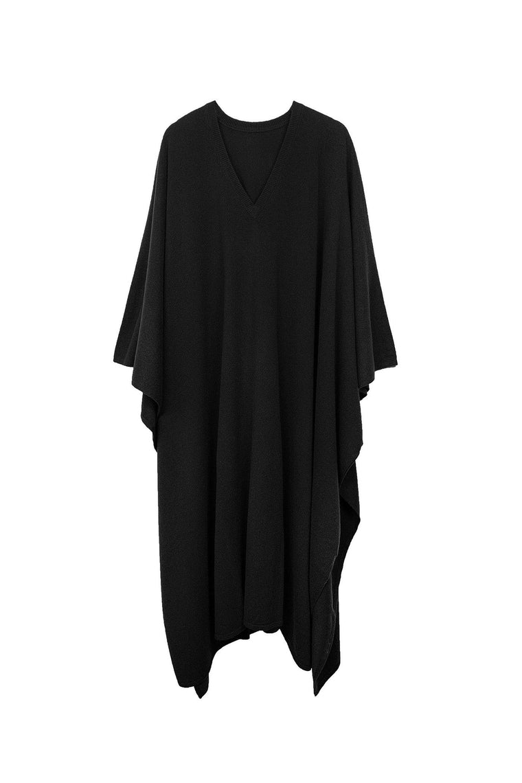 Cashmere knit v-neck caftan in black