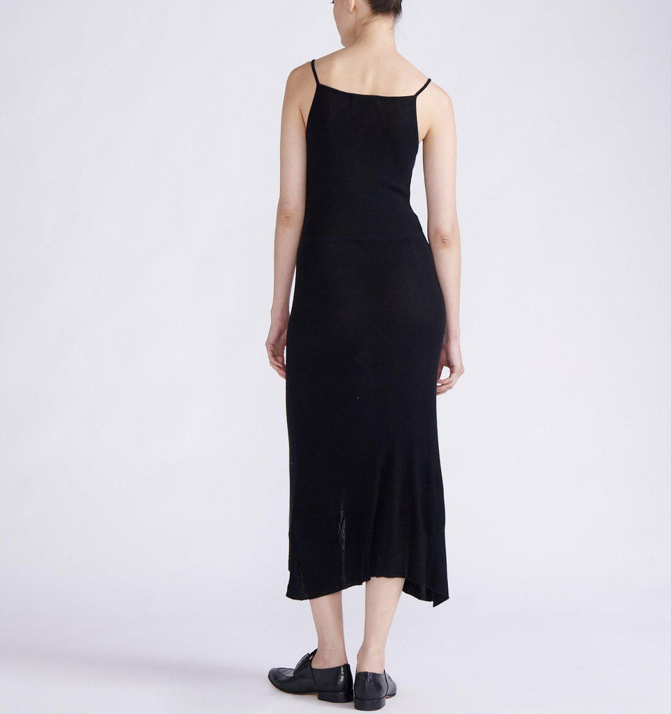 RYAN ROCHE CASHMERE LONG TANK DRESS WITH FRONT PLACKET