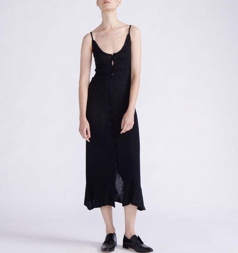 CASHMERE LONG TANK DRESS WITH FRONT PLACKET