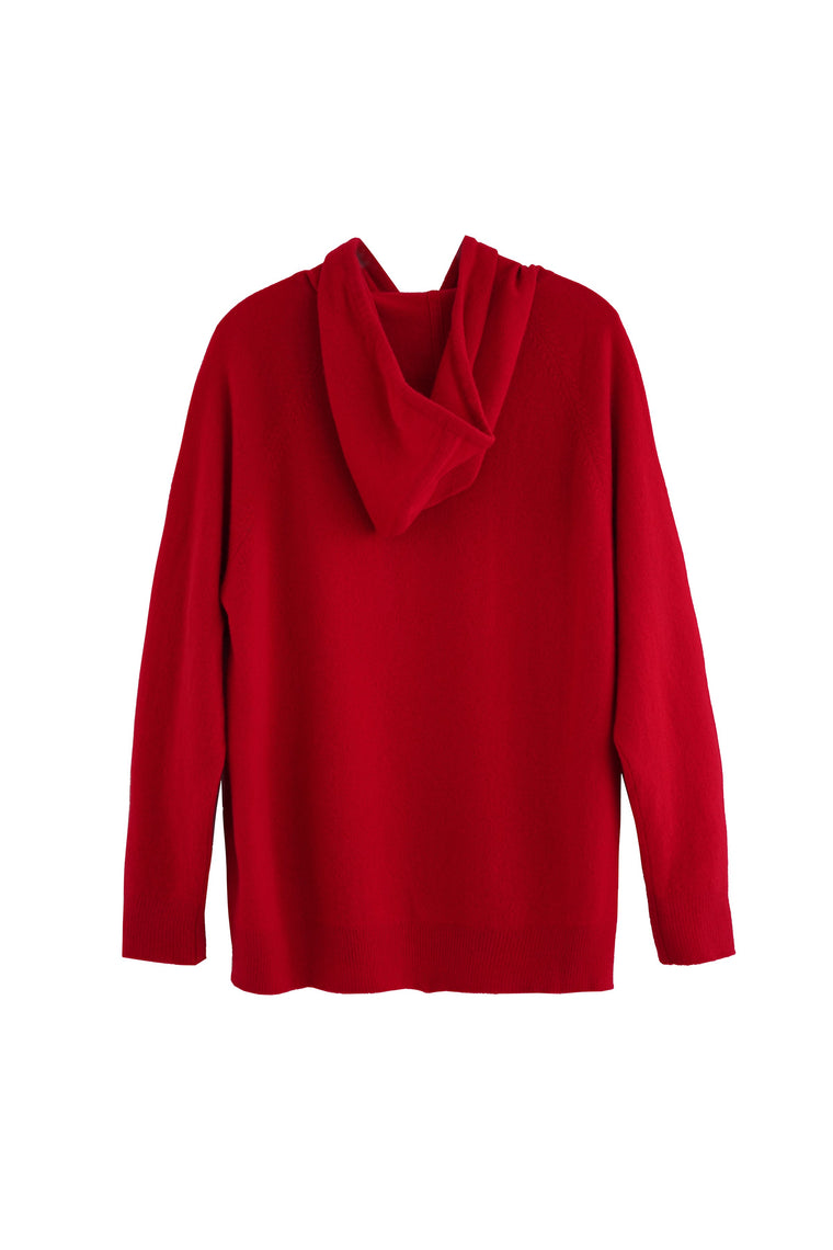 RYAN ROCHE Cashmere luxury lounge hoodie in red