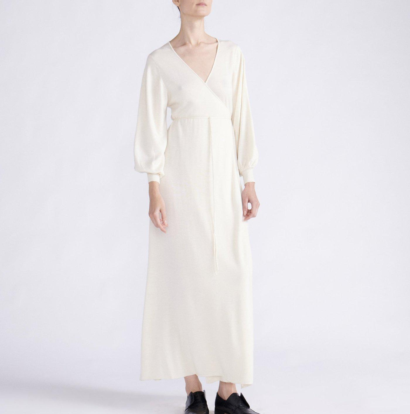 RYAN ROCHE CASHMERE MAXI WRAP DRESS WITH BALLOON SLEEVES