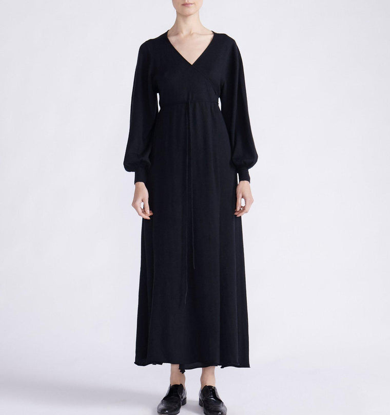 CASHMERE MAXI WRAP DRESS WITH BALLOON SLEEVES