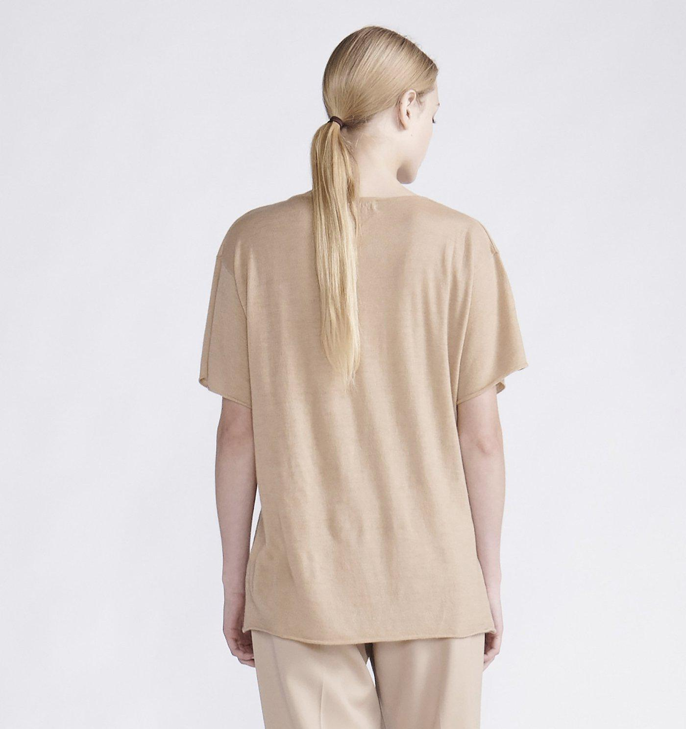 RYAN ROCHE CASHMERE OVERSIZED V NECK T SHIRT