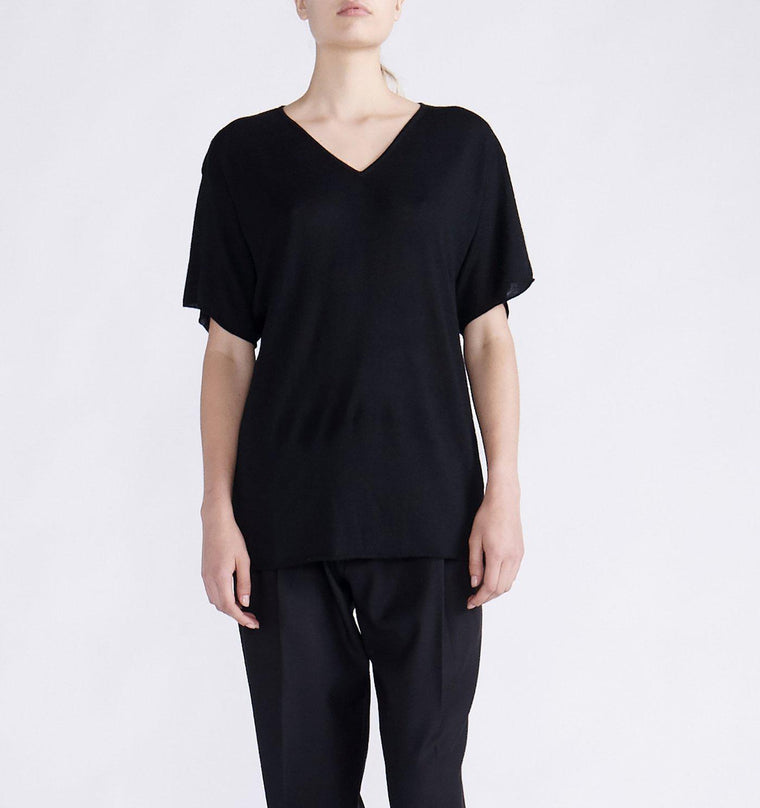 CASHMERE OVERSIZED V NECK T SHIRT