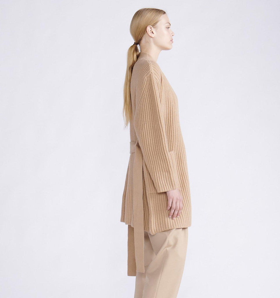 RYAN ROCHE CASHMERE RIBBED WRAP CARDIGAN WITH BELT