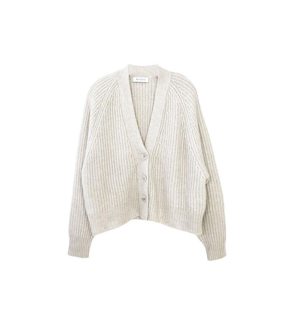RYAN ROCHE CASHMERE SILK CROPPED RIBBED CARDIGAN WITH FRONT PLACKET
