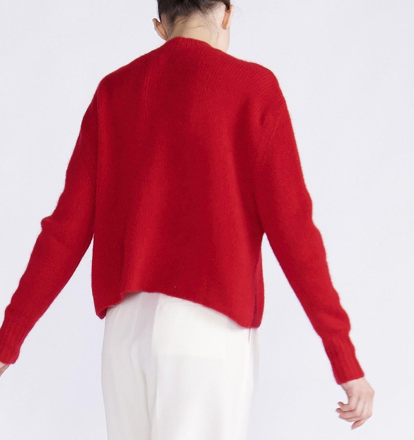 RYAN ROCHE CASHMERE SILK CROPPED SWEATER WITH RIBBED NECK AND CUFFS