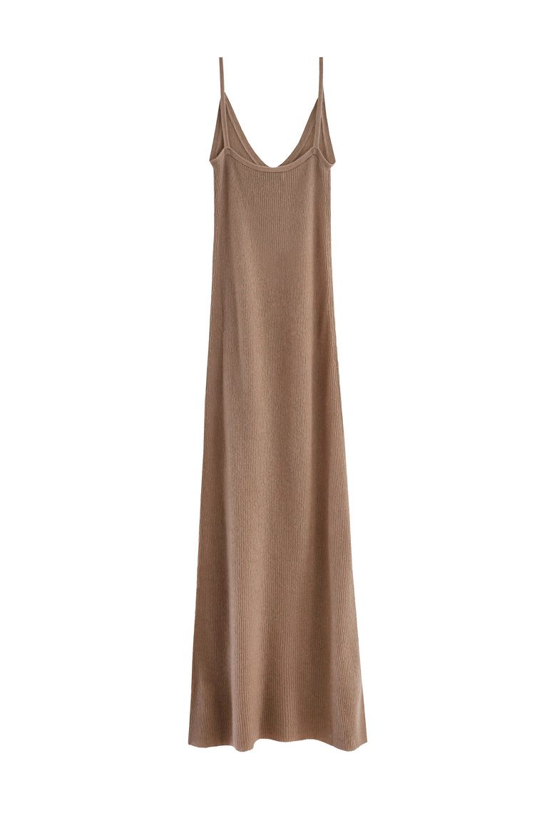 RYAN ROCHE Cashmere silk knit tank dress in camel