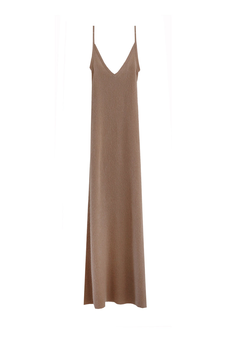 Cashmere silk knit tank dress in camel