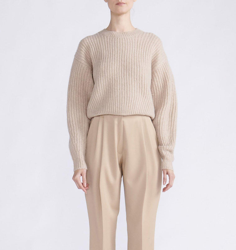 CASHMERE SILK RIBBED OVERSIZED CREWNECK SWEATER