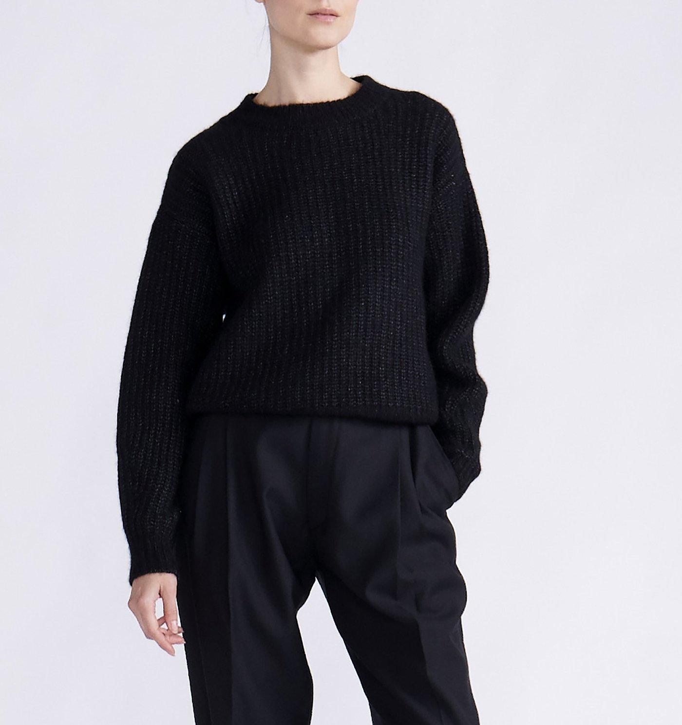RYAN ROCHE CASHMERE SILK RIBBED OVERSIZED CREWNECK SWEATER