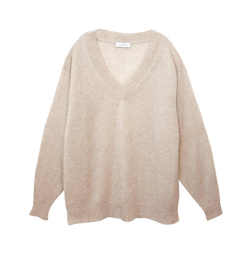 RYAN ROCHE CASHMERE SILK V NECK LIGHTWEIGHT SWEATER