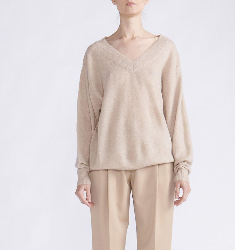 CASHMERE SILK V NECK LIGHTWEIGHT SWEATER