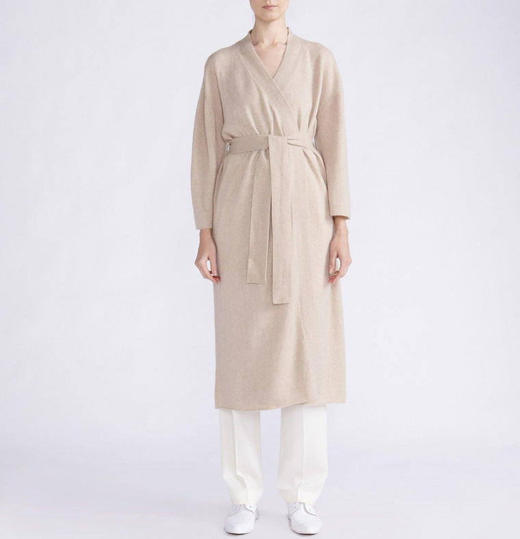 CASHMERE SILK WRAP MAXI CARDIGAN WITH BELT