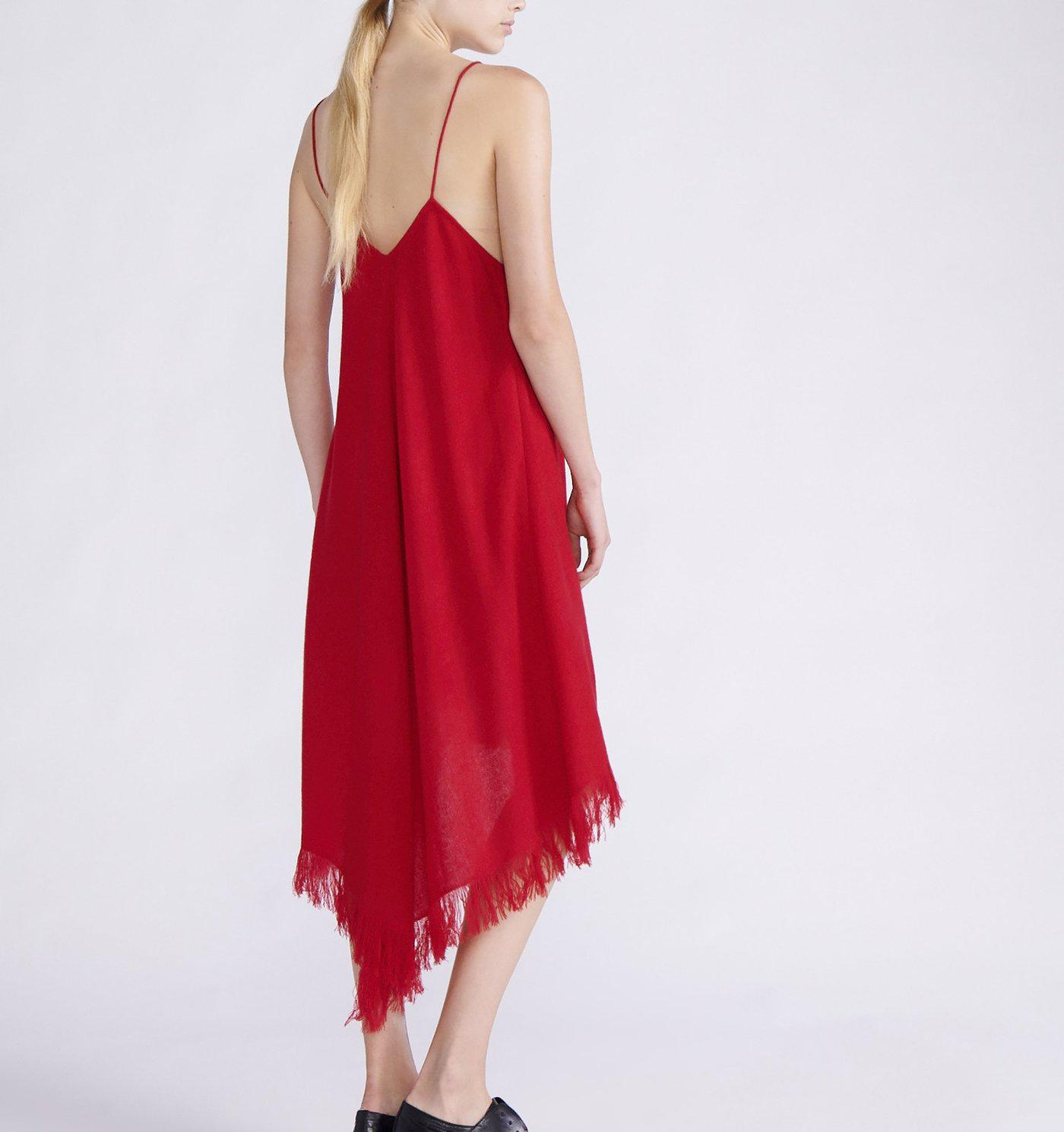RYAN ROCHE CASHMERE WOVEN SCARF DRESS WITH TINY SPAGHETTI STRAPS