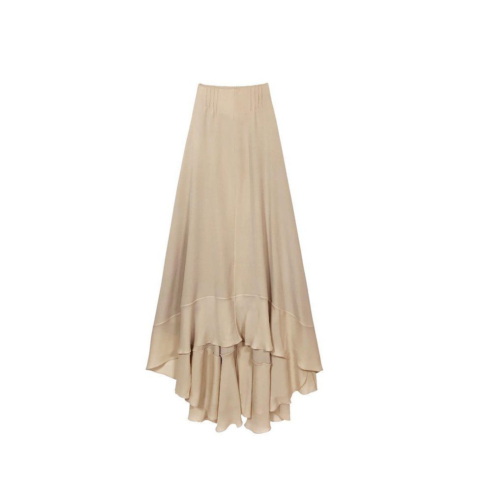 RYAN ROCHE CHAMPAIGN 4 PLY WASHED SILK MAXI SKIRT WITH BOTTOM RUFFLE