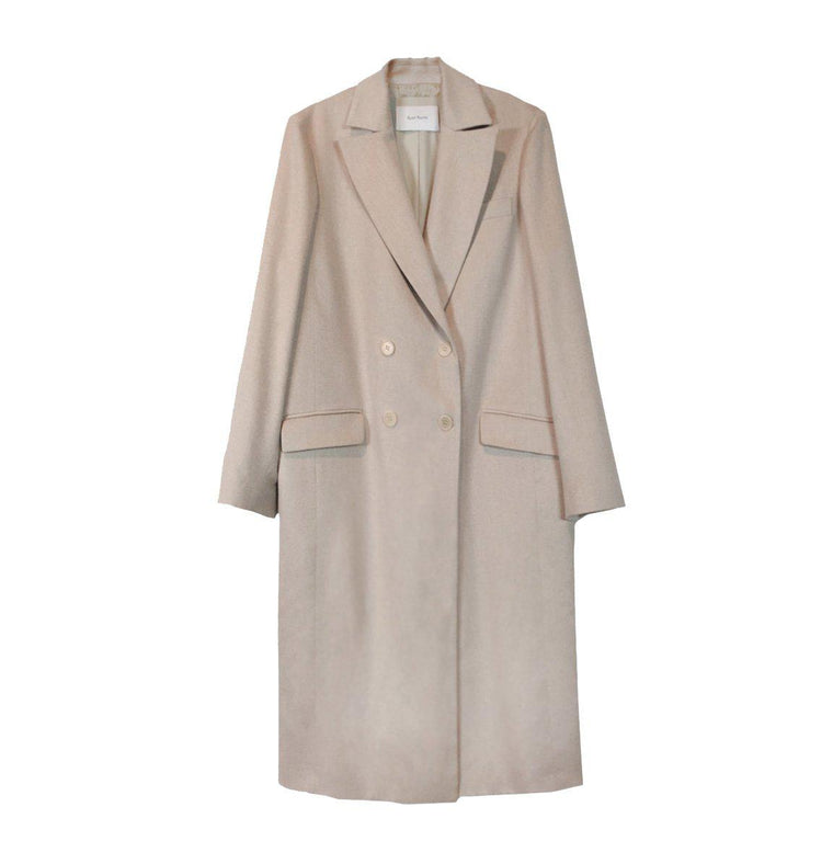 Classic tailored double breasted cashmere coat in jute