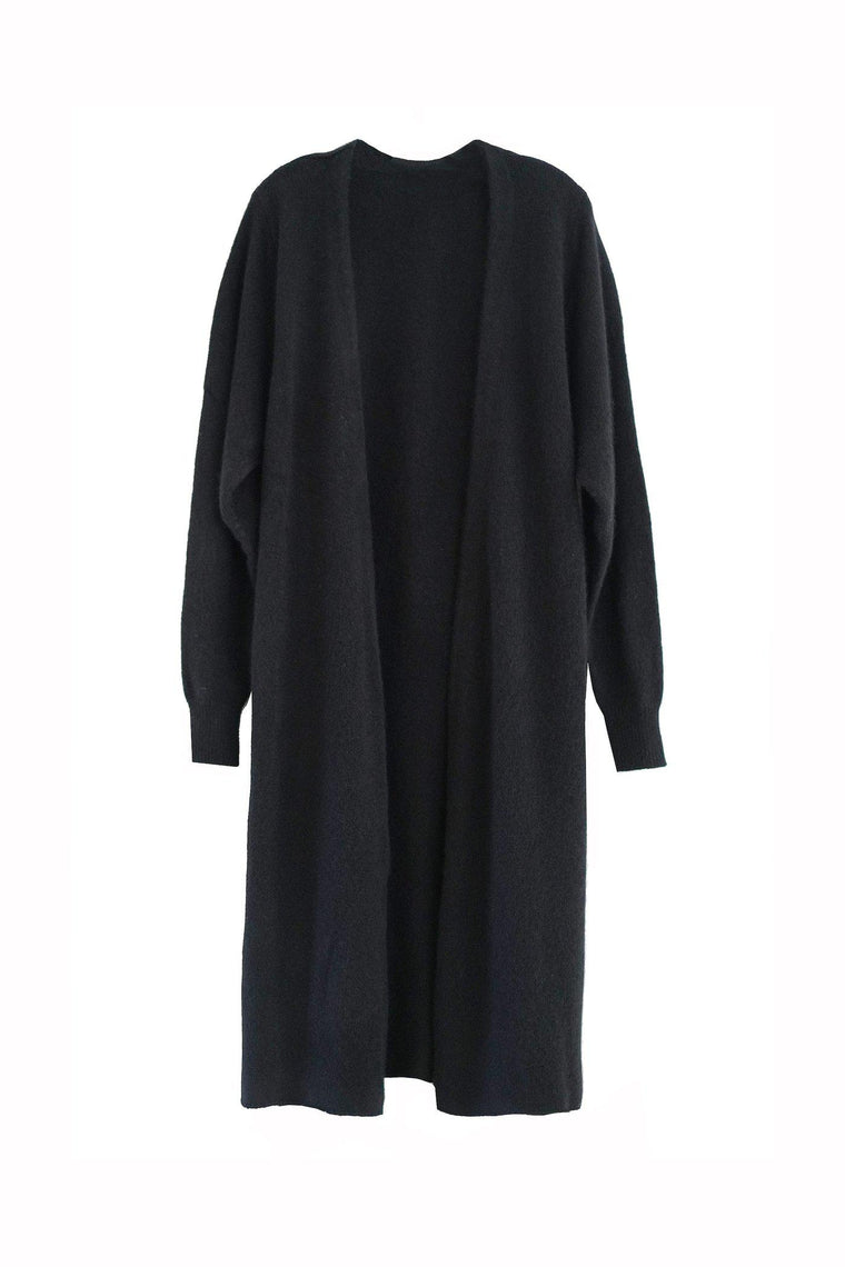 Our signature luxury wrap knit robe in classic black