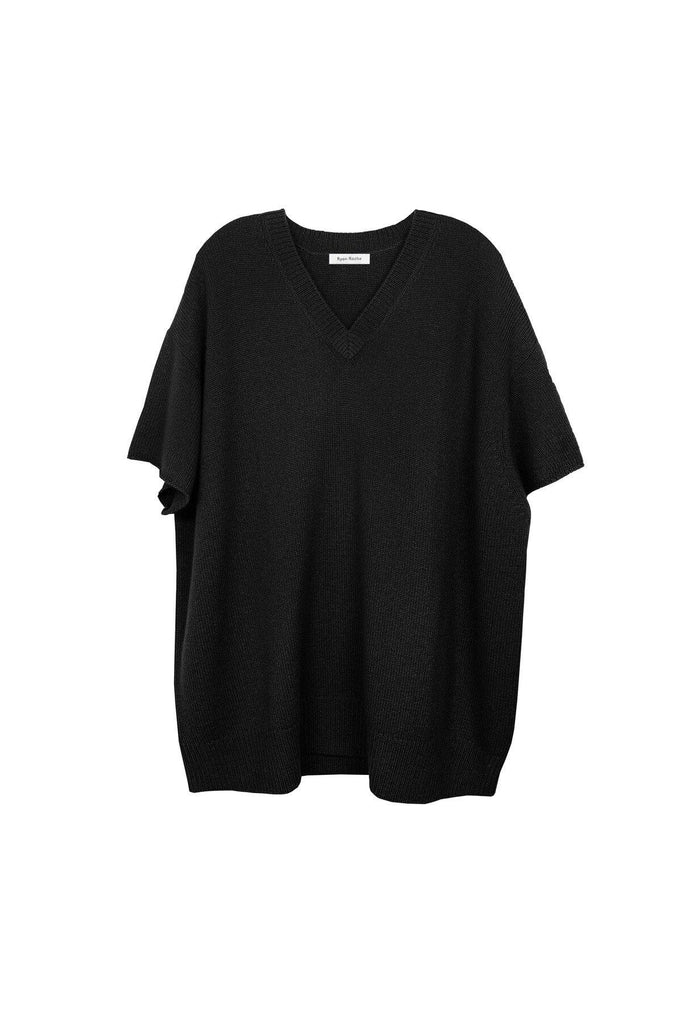 RYAN ROCHE Oversized heavy gauge cashmere T-shirt in black