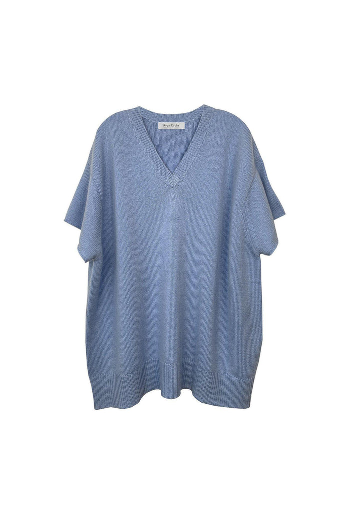 RYAN ROCHE Oversized heavy gauge cashmere T-shirt in lavanda
