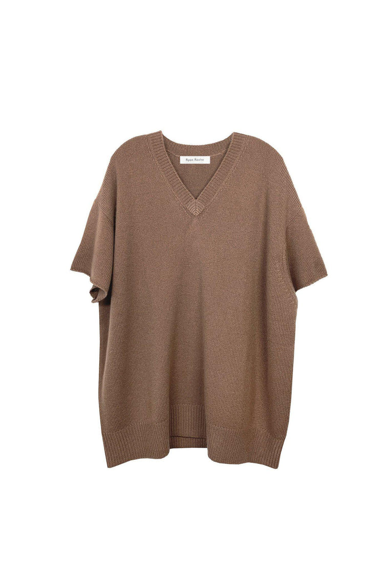 Oversized heavy gauge cashmere T-shirt in rogue camel