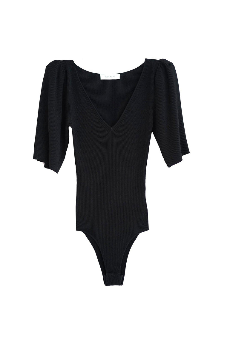 Puff sleeve v-neck bodysuit in black
