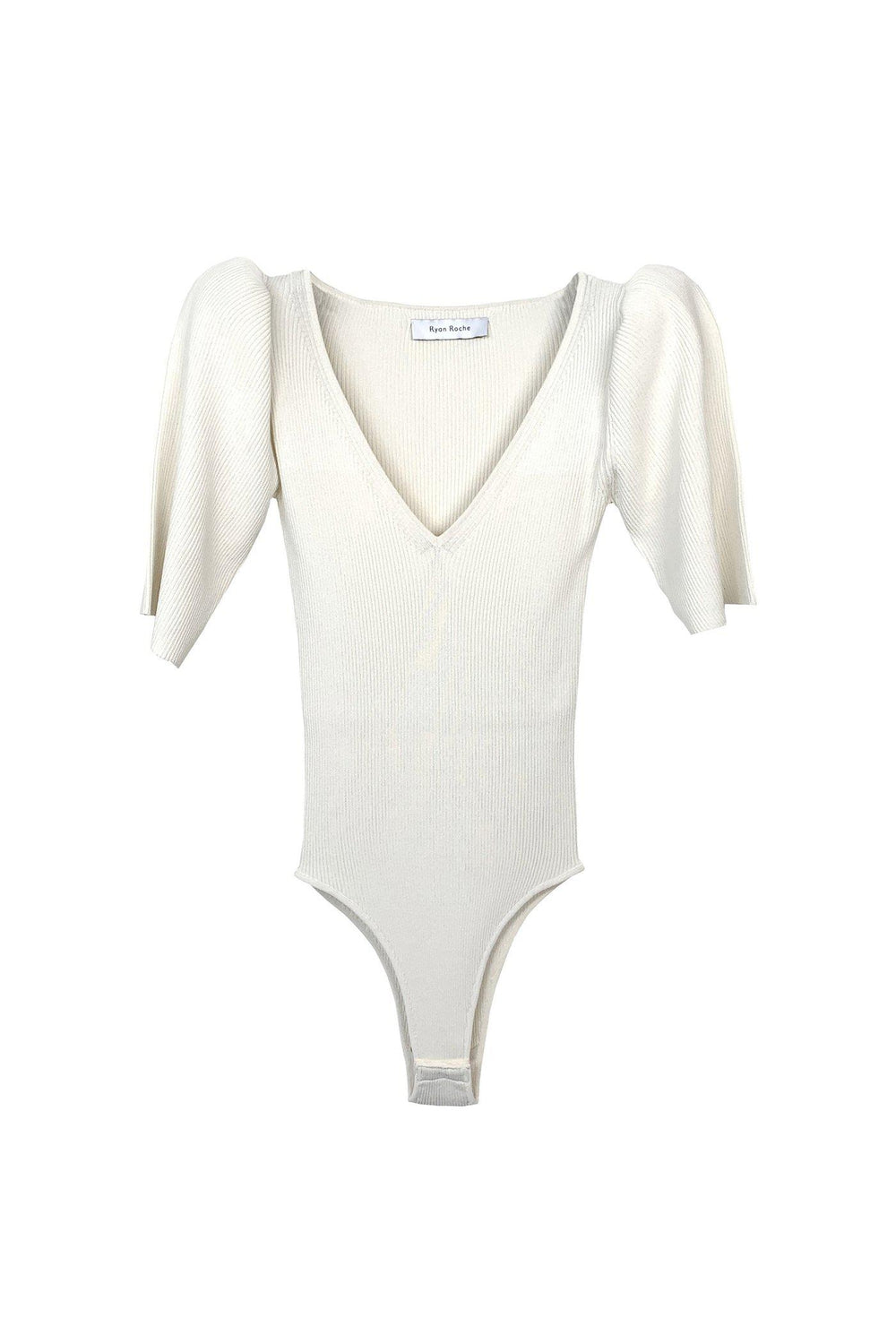 RYAN ROCHE Puff sleeve v-neck bodysuit