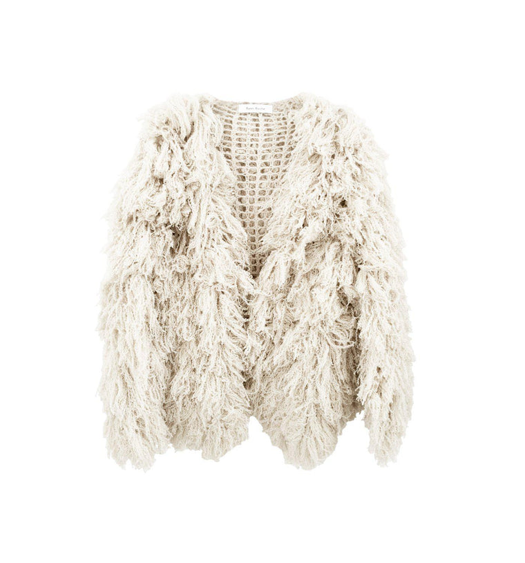 Signature cloud cashmere silk furry cardigan in Snow White