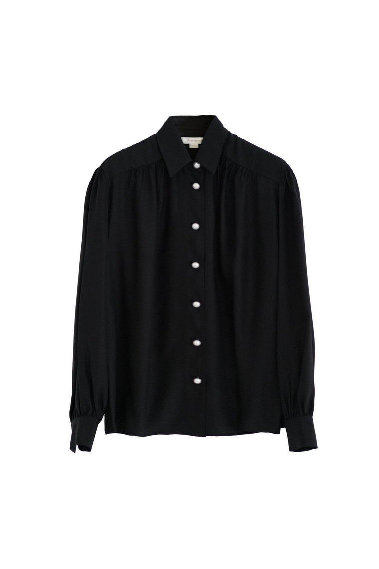 Silk blouse with pearl buttons in black