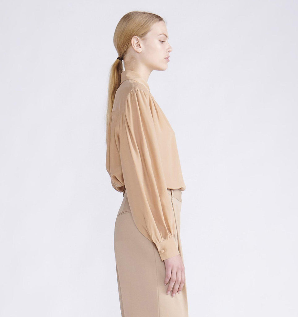 RYAN ROCHE SILK BLOUSE WITH PUFF SHOULDERS AND SHIRRING DETAIL