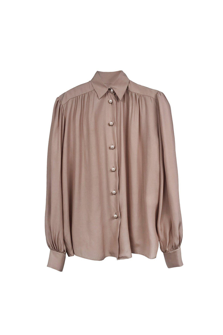 Silk blouse with puff sleeve and pearl buttons in ambrosia