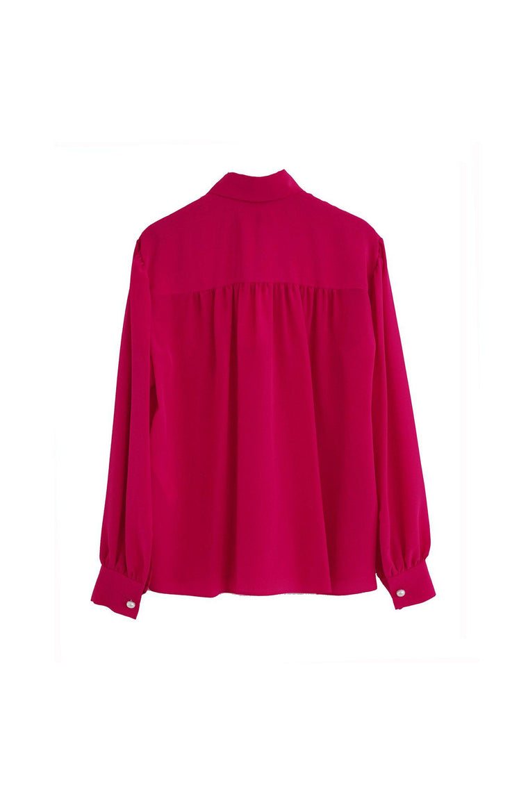 RYAN ROCHE Silk blouse with puff sleeve and pearl buttons in lipstick pink