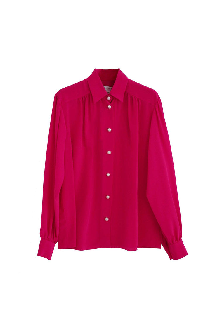 Silk blouse with puff sleeve and pearl buttons in lipstick pink