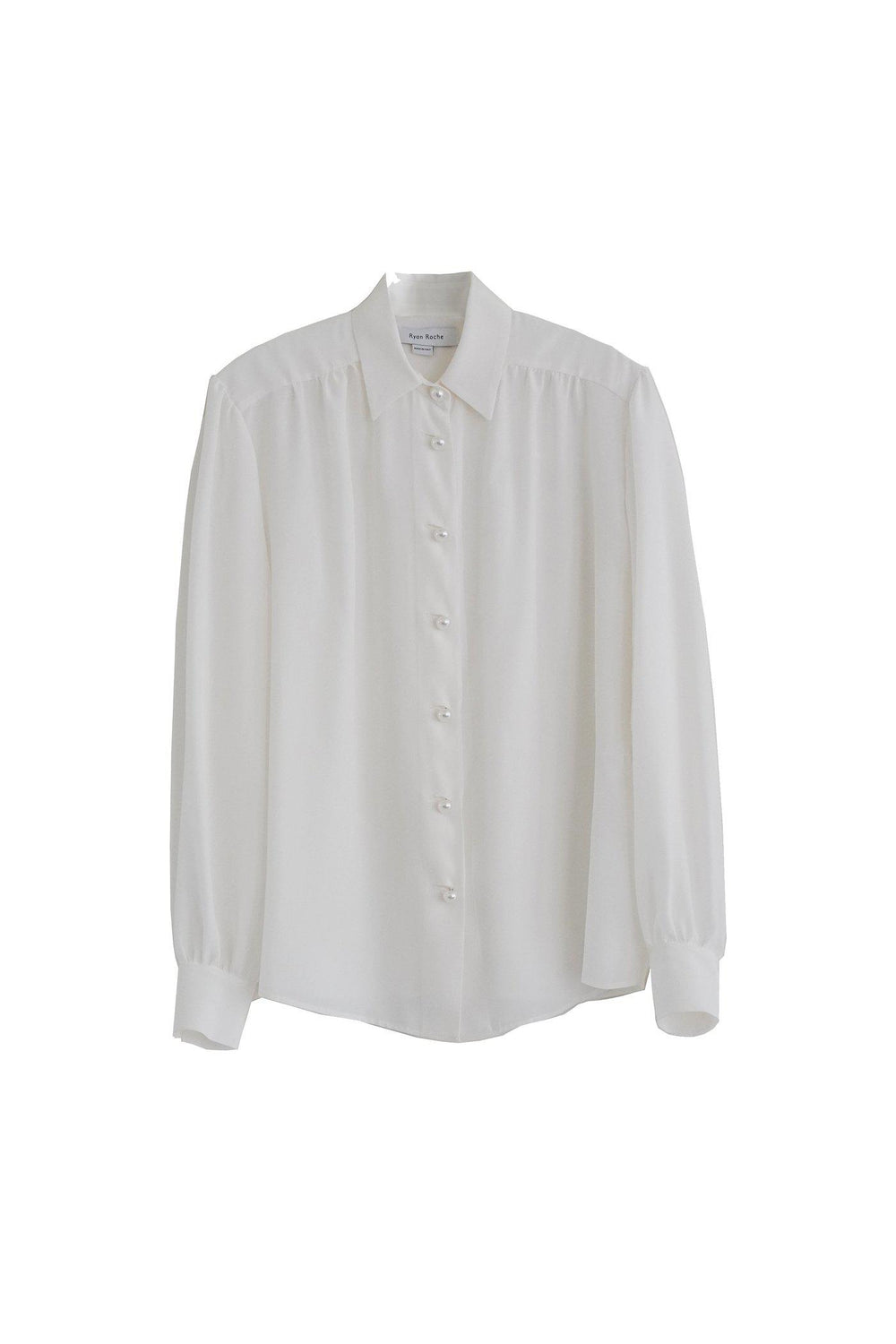 RYAN ROCHE Silk blouse with puff sleeve and pearl buttons in snow white
