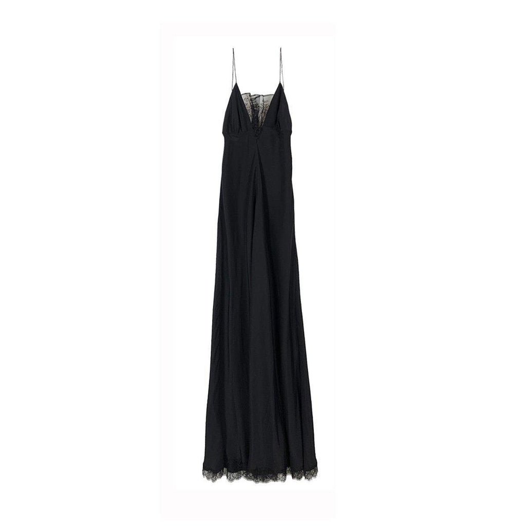 RYAN ROCHE SILK CHARMEUSE MAXI DRESS WITH LACE TRIM DETAIL