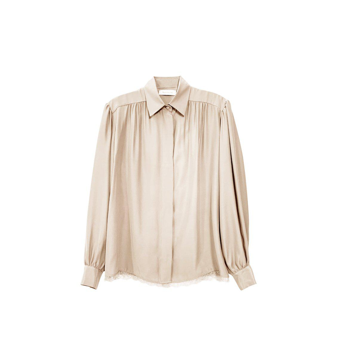 RYAN ROCHE SILK CHARMEUSE SHIRT WITH PUFF SHOULDERS AND LACE TRIM