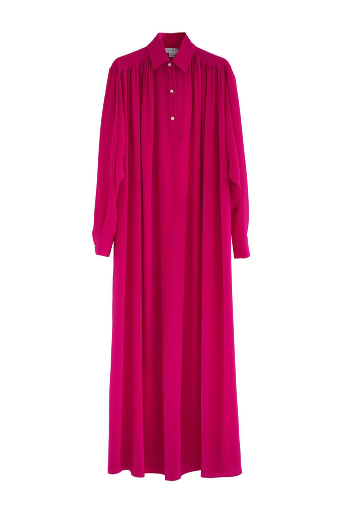 RYAN ROCHE Silk collared shirt dress in lipstick with pearl buttons