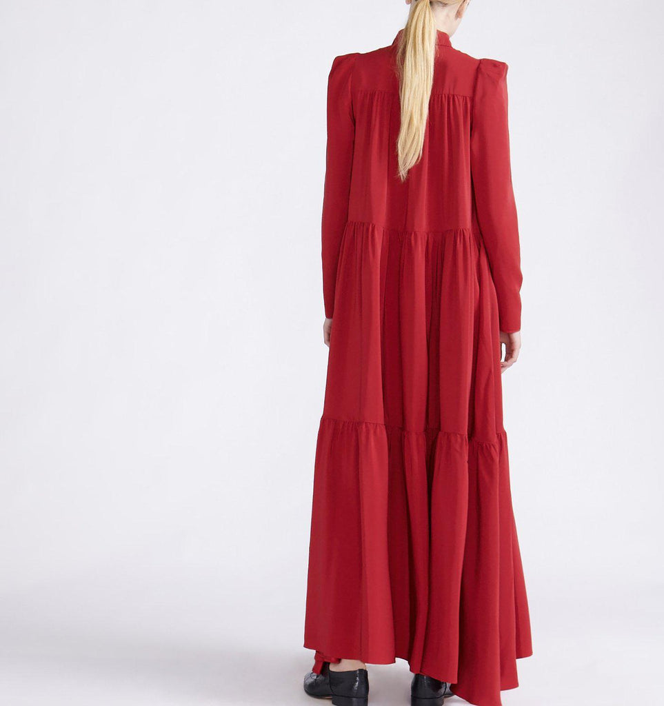 RYAN ROCHE SILK MAXI SHIRT DRESS WITH FULL BOTTOM RUFFLED PANELS