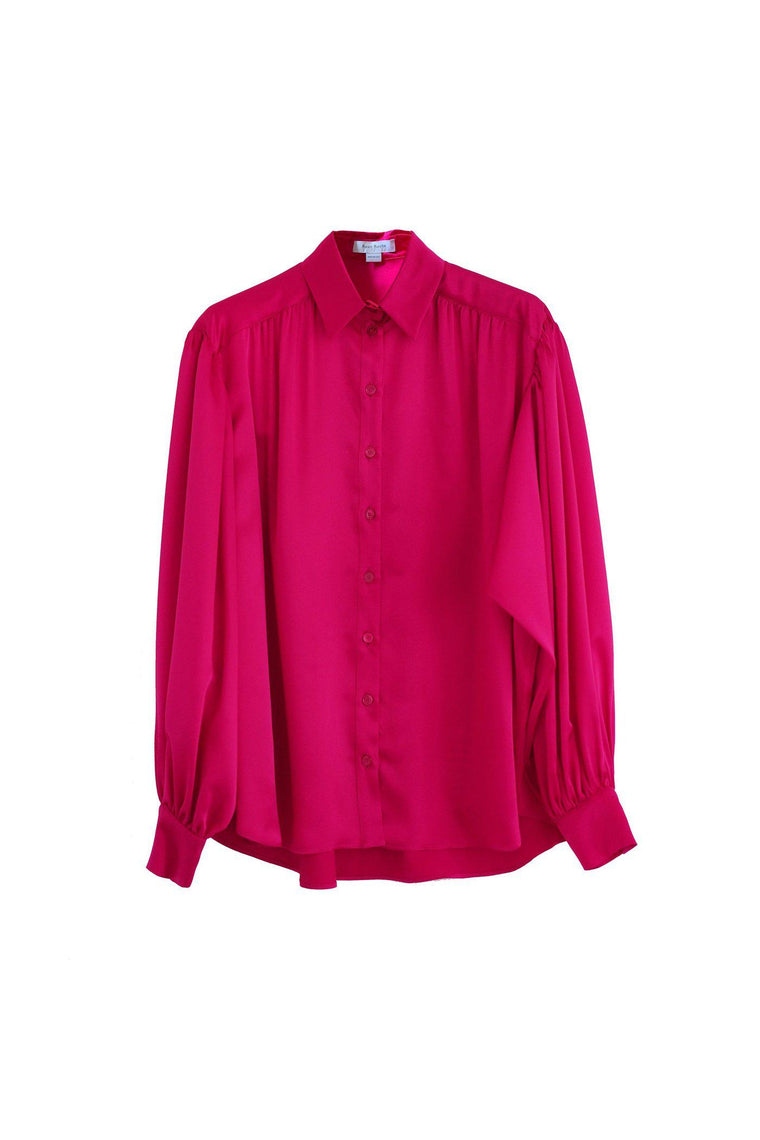 Silk satin charmeuse puff sleeve blouse in lipstick pink