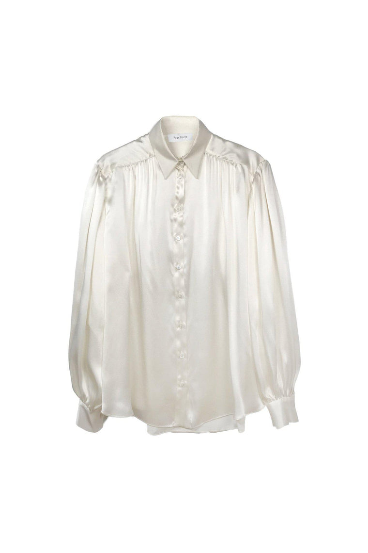 Silk satin charmeuse puffed sleeve blouse in winter white