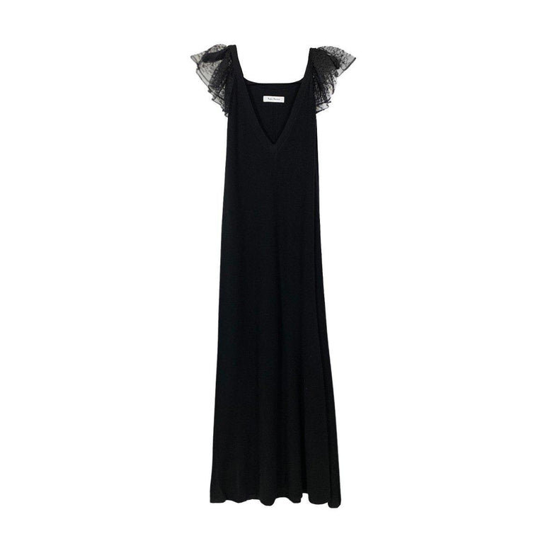 STRETCH CASHMERE A LINE DRESS WITH PUFF LACE SLEEVES