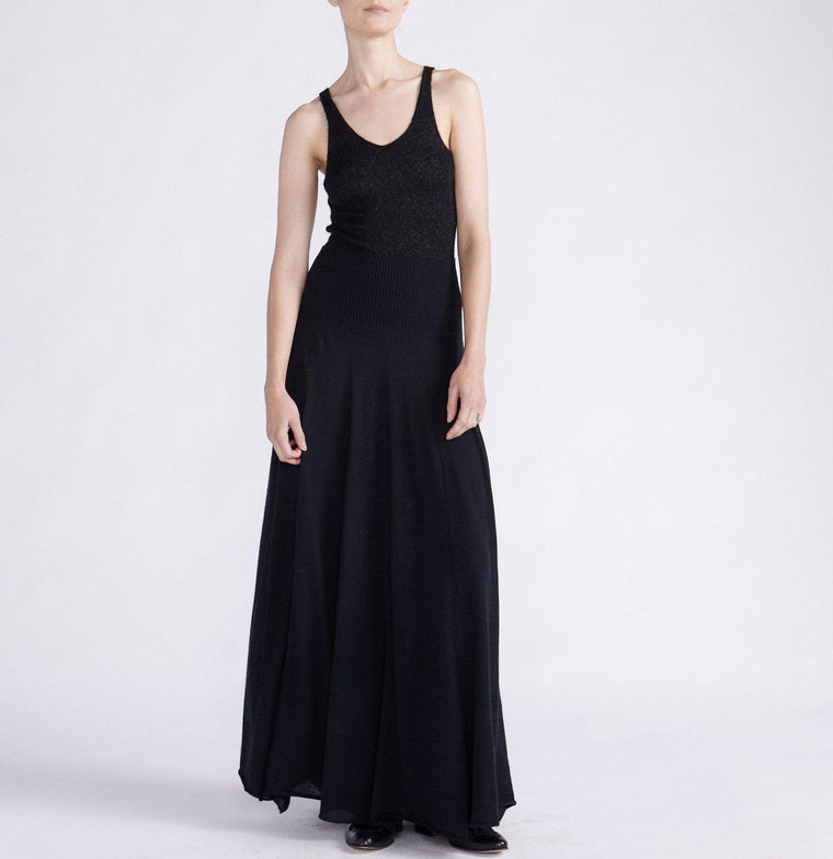 STRETCH CASHMERE MAXI SKIRT DRESS WITH FRONT AND BACK PANELS