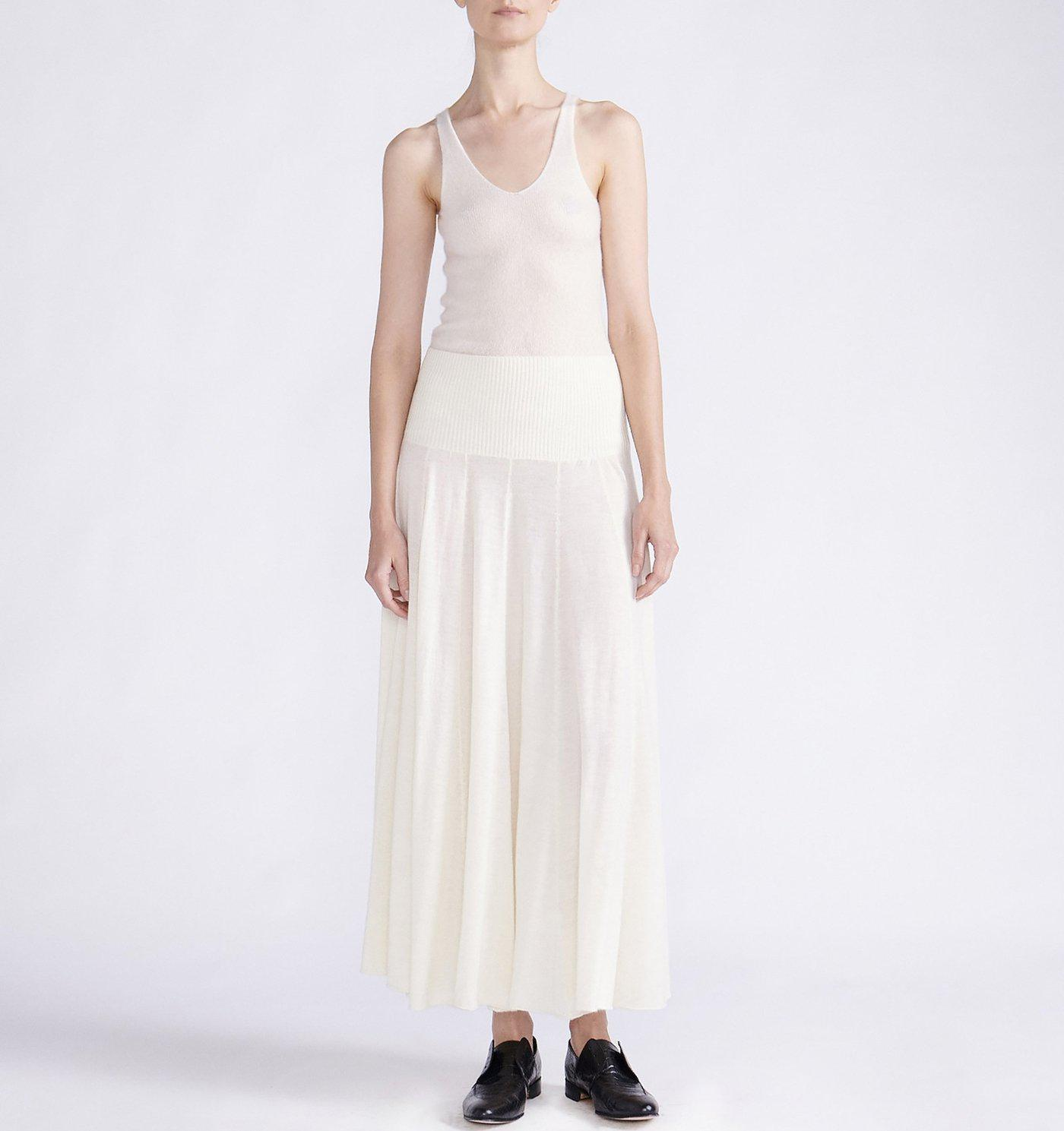 RYAN ROCHE STRETCH CASHMERE MIDI KNIT SKIRT DRESS WITH FRONT AND BACK PANELS